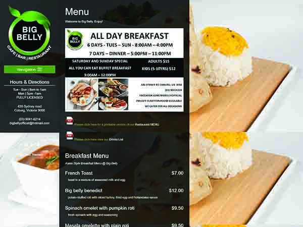 Restaurant website melbourne